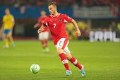 VIENNA,  AUSTRIA - JUNE  7 Marko Arnautovic (#7 Austria) runs with the ball during the world cup qua