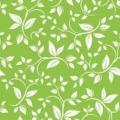 Seamless white floral pattern on green