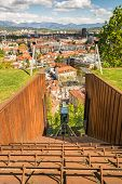 pic of descending  - Funicular descending with a panoramic view of a city Ljubljana Slovenia - JPG