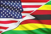Series Of Ruffled Flags. Usa And Republic Of Zimbabwe