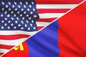 Series Of Ruffled Flags. USA And Mongolia.