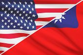Series Of Ruffled Flags. Usa And Republic Of China.