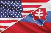 Series Of Ruffled Flags. Usa And Slovak Republic - Slovakia.