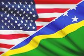 Series Of Ruffled Flags. Usa And Solomon Islands.