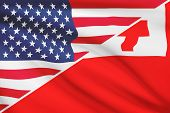 Series Of Ruffled Flags. Usa And Kingdom Of Tonga.
