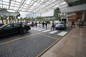 SINGAPORE - NOVEMBER 06, 2012: Guests at the main entrance to the hotel Marina Bay Sands.The hotel h