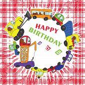 Child's Hand Draw Cars Happy Birthday