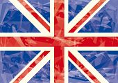 Union jack icy flag. A horizontal British flag with ice effect.