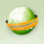 Shiny mother earth globe wrapped in a orange ribbon with text World Environment Day, Save the earth