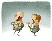 picture of greedy  - businessman asking for money to a greedy - JPG