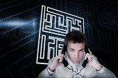 Composite image of maze and businessman tangled in wires against futuristic black and blue backgroun