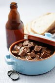 delicious goulash with beef and beer - food and drink