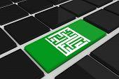 Maze against black keyboard with green key