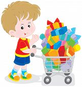 Boy with a shopping trolley of gifts