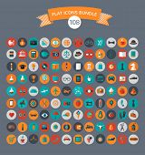 Huge collection of flat vector icons with modern colors of travel, marketing,  hipster ,science, edu