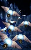 Winged bulbs take flight in a group toward an unknown destination poster