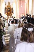 Communion Children Move Into Church