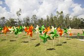 stock photo of wind wheel  - Colorful plastic wind wheels stabebed on the ground - JPG