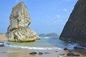 Large rock on beach