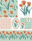 Pretty Tulip Vector Seamless Patterns and Elements. Use as fills, digital paper, or print off onto f