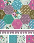 Pretty Vector Patchwork Floral Seamless Patterns and Elements. Use as fills or print off onto fabric