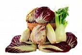 foto of endive  - Spilled and in wooden bushel basket  - JPG