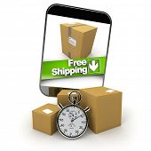 3D rendering of a purchase from a smartphone with a free shipping