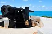 Cannon Pointing At The Blue Ocean