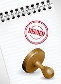 Stamp On Paper Notebook - Denied Print. Vector Illustration.