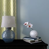 stock photo of plinth  - Beautiful lamp on a background of blue wall and green curtain - JPG