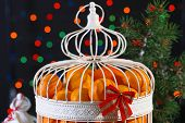Tangerines in decorative cage with Christmas decor, on shiny background