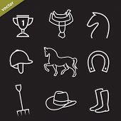 picture of western saddle  - Set of vector horse equipment icons on black background - JPG