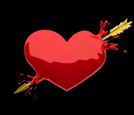 picture of cupid  - Read shiny heart being penetrated by golden arrow of Amor or Cupid with a bloodlike splash - JPG