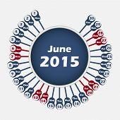 Vector calendar 2015 June template