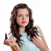Brunette Girl With Red Lipstick