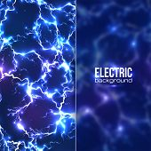 Electric background with plastic transparent banner