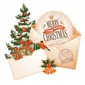 Vintage Christmas still life with envelope, greeting card and other winter holiday objects. Vector illustration isolated on white background.