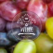 Label for grape wine on background with blurred effect