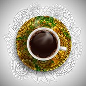 Cup with fresh hot coffee on luxury painted saucer and ornate background. Vector illustration.