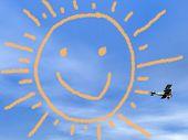 Smiling sun from biplan smoke - 3D render