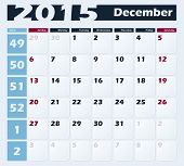 Calendar 2015 December vector design template