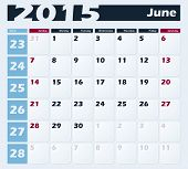 Calendar 2015 June vector design template