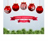 Christmas background with balls. Illustration. Vector.