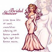 Vector illustration of elegant bride for Bridal Shower celebration