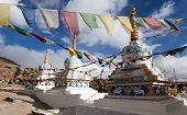 stock photo of himachal pradesh  - Prayer flags with stupas  - JPG