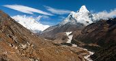 Ama Dablam, Lhotse, Nuptse And Top Of Mount Everest