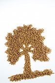 symbol photo tree from pellets for heating and heat from alternative, renewable energy sources.
