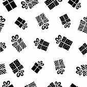 Seamless vector Gift pattern, black gift boxes on white background.