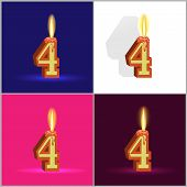 the number four in the form of a burning candle