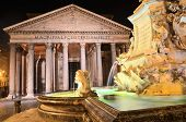 Majestic Pantheon and the Fountain by night on Piazza della Rotonda in Rome, Italy